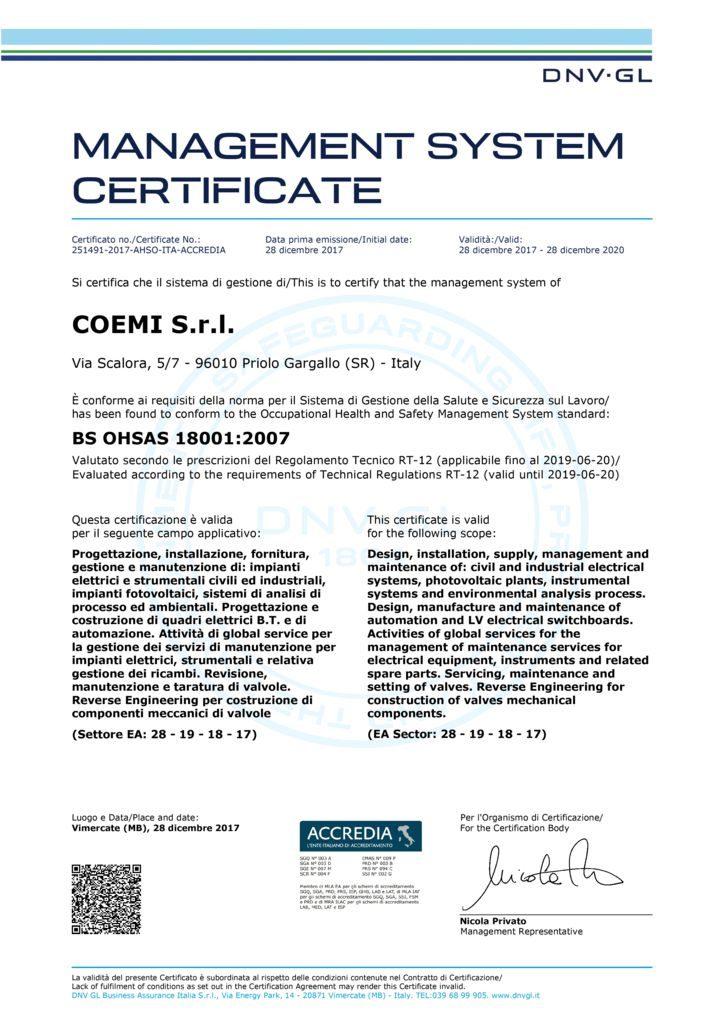thumbnail of Cert_OHSAS 18001 Coemi Srl